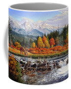 Western Mountain Landscape Autumn Mountain Man Trapper Beaver Dam Frontier Americana Oil Painting Coffee Mug by Walt Curlee