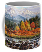 Western Mountain Landscape Autumn Mountain Man Trapper Beaver Dam Frontier Americana Oil Painting Coffee Mug