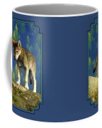 Wolf Pups - Anybody Home Coffee Mug by Crista Forest