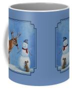 Whitetail Deer And Snowman - Whose Carrot? Coffee Mug by Crista Forest