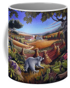Rural Country Farm Life Landscape Folk Art Raccoon Squirrel Rustic Americana Scene  Coffee Mug by Walt Curlee