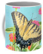 Swallowtail Butterfly And Zinnias Coffee Mug