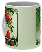 Cardinals And Holly - Version With Snow Coffee Mug by Crista Forest
