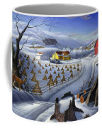 Folk Art Winter Landscape Coffee Mug
