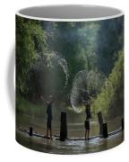 Asian Girl Playing Water In River Coffee Mug