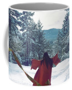 Asian Woman In Red Kimono Dancing On The Snow In The Forest Coffee Mug