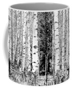 Aspens And The Pine Black And White Fine Art Print Coffee Mug