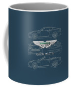 Aston Martin 3 D Badge Over Aston Martin D B 9 Blueprint Coffee Mug