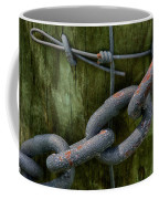 At The Fence Gate - Chain, Wire, And Post Coffee Mug