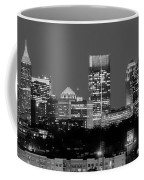 Atlanta Skyline At Night Downtown Midtown Black And White Bw Panorama Coffee Mug