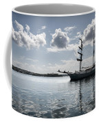 Atlantis - A Three Masts Vessel In Port Mahon Crystaline Water Coffee Mug