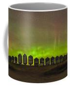 Aurora Borealis Behind Grain Bins Coffee Mug