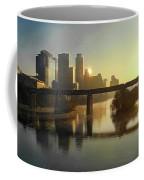 Austin Hike And Bike Trail - Pfluger Pedestrian Bridge - Fog Lifting Bright Panorama Coffee Mug