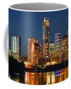 Austin Skyline At Night Color Panorama Texas Coffee Mug