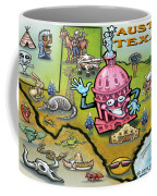 Austin Texas Cartoon Map Coffee Mug