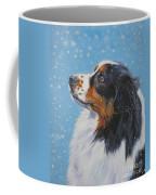 Australian Shepherd In Snow Coffee Mug