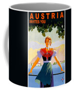 Austria, Young Woman In Traditional Dress Invites You, Danube River Coffee Mug