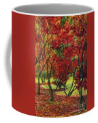 Autum Red Woodlands Painting Coffee Mug