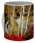 Autumn Birch Lake View Coffee Mug