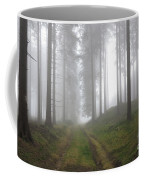 Autumn Coniferous Forest In The Morning Mist Coffee Mug