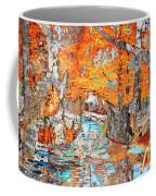 Autumn Deer Birch Background Coffee Mug