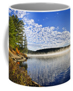 Autumn Lake Shore With Fog Coffee Mug
