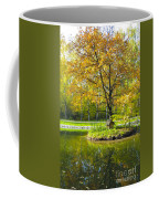 Autumn Landscape With Red Tree Coffee Mug