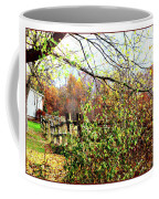 Autumn Leaves Against A Fence Coffee Mug