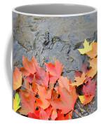 Autumn River Landscape Red Fall Leaves Coffee Mug