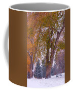 Autumn Snow Park Bench   Coffee Mug by James BO  Insogna