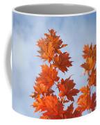 Autumn Tree Leaves Art Prints Blue Sky White Clouds Coffee Mug