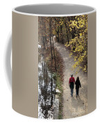 Autumn Walk On The C And O Canal Towpath With Oil Painting Effect Coffee Mug