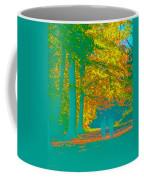 Autumn Woodland Walk Turquoise Coffee Mug