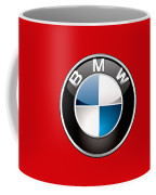 B M W Badge On Red  Coffee Mug