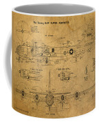 B29 Superfortress Military Plane World War Two Schematic Patent Drawing On Worn Distressed Canvas Coffee Mug