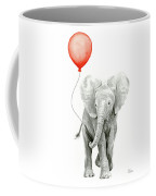 Baby Elephant Watercolor Red Balloon Coffee Mug