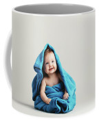 Baby Girl Covered With A Blue Warm Blanket Coffee Mug