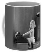 Baby Girl With Adding Machine, C.1940s Coffee Mug