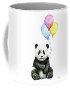 Baby Panda Watercolor With Balloons Coffee Mug