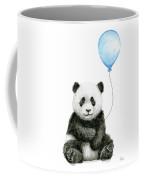 Baby Panda With Blue Balloon Watercolor Coffee Mug