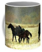 Bailando De Los Caballos En Viento Y Nieve Coffee Mug
