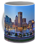 Baltimore Skyline Inner Harbor Panorama At Dusk Coffee Mug