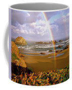 Bandon Beach Rainbow Sunrise Coffee Mug by Ed  Riche