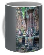 Banteay Srey Temple Pink Monkeys Coffee Mug