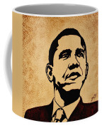 Barack Obama Original Coffee Painting Coffee Mug by Georgeta  Blanaru