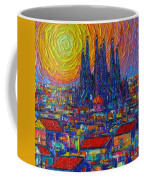Barcelona Colorful Sunset Over Sagrada Familia Abstract City Knife Oil Painting Ana Maria Edulescu Coffee Mug