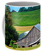Barn Silo And Crops In Nys Expressionistic Effect Coffee Mug