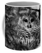 Barred Owl In Black And White Coffee Mug