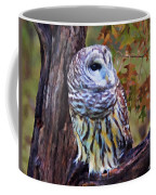 Barred Owl In The Rain Oil Painting Coffee Mug