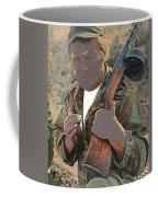 Barry Sadler With Machine Gun On His Shoulder Tucson Arizona 1971-2015 Coffee Mug